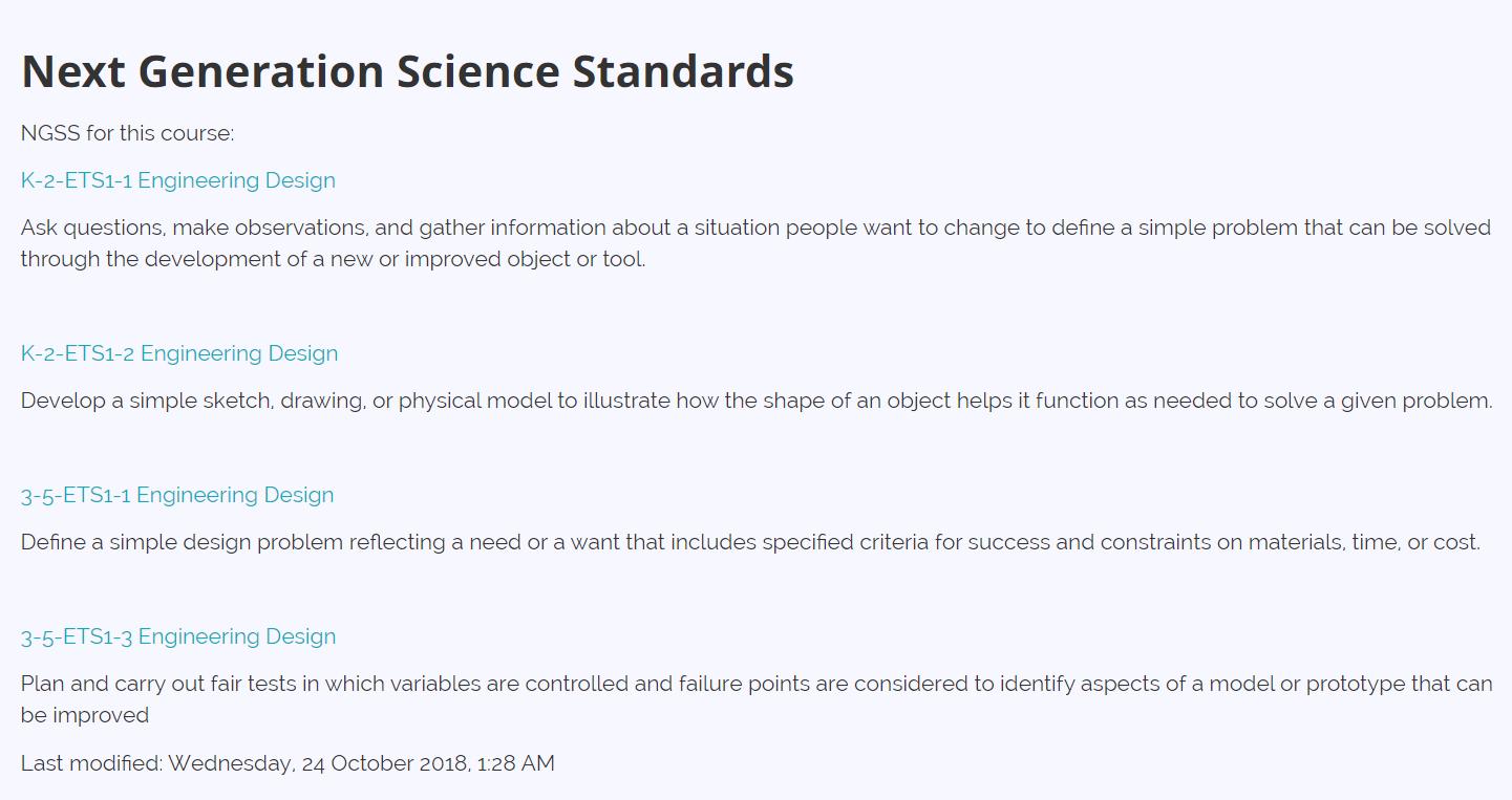 School Fab Lab Science Standards